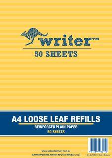 Writer A4 50lf Plain Reinforced Refills