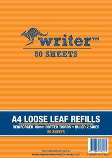 Writer A4 50lf 18mm Dotted Thirds Reinfiorced Refills