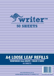 Writer A4 50lf 2mm Graph Reinforced Refills