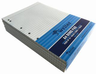 Writer A4 100lf Bond Ruled Notepad + 7 holes