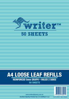 Writer A4 50lf 5mm Graph Reinforced Refills