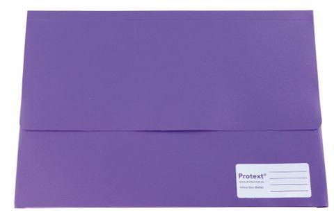 Protext Foolscap Velcro Doc Wallet -Purple
