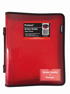 Protext Zip Binder 3 Ring Red