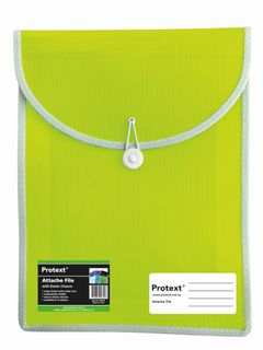 Protext Attache File with Elastic Closure - Lime Green