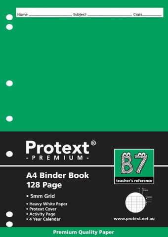 Protext Premium A4 128pg 5mm Grid Binder Book
