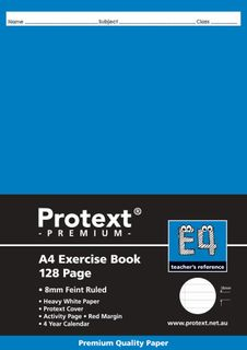 Protext Premium A4 128pg 8mm Ruled Exercise Book