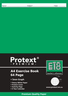 Protext Premium A4 64pg 5mm Grid Exercise Book