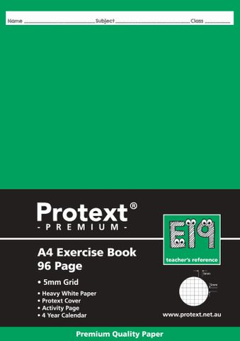Protext Premium A4 96pg 5mm Grid Exercise Book