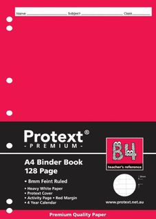 Protext Premium A4 128pg 8mm Ruled Binder Book