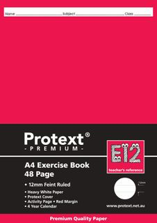 Protext Premium A4 48pg 12mm Solid Ruled Exercise Book