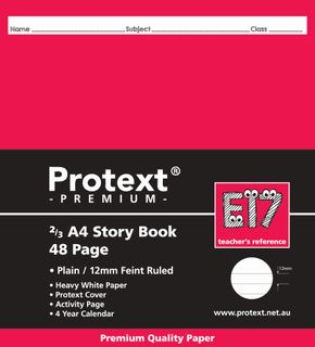 Protext Premium 2/3 A4 48pg 1/2 Plain/ 1/2 12mm Ruled Exercise Book
