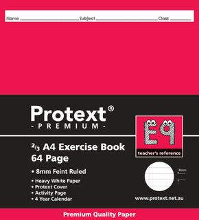 Protext Prem 2/3A4 64pg 8mm Ruled Exercise Book