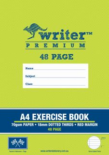 Writer Premium A4 48pg 18mm Dotted Thirds Exercise Book
