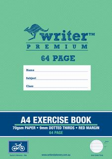 Writer Premium A4 64pg 9mm Dotted Thirds Exercise Book