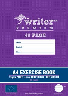 Writer Premium A4 48pg 8mm Ruled Exericse Book