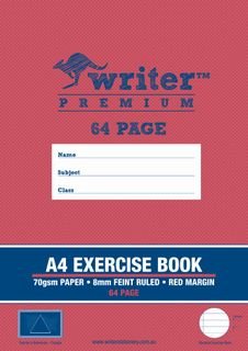 Writer Premium A4 64pg 8mm Ruled Exercise Book