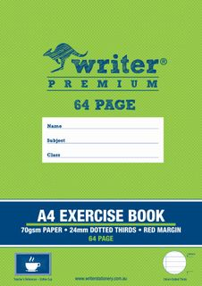 Writer Premium A4 64pg 24mm Dotted Thirds  Exercise Book + margin