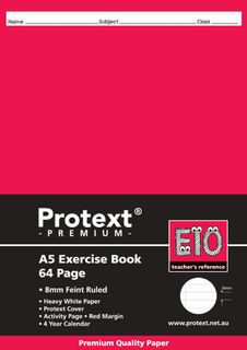 Protext Premium A5 64pg 8mm Ruled Exercise Book