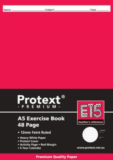 Protext Premium A5 48pg 12mm Solid Ruled Exercise Book