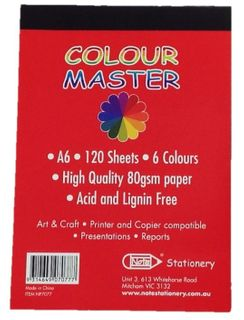 A6 120 Sheet Mixed Colour Notepad 80gsm