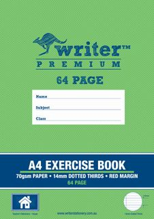 Writer Premium A4 64pg 14mm Dotted Thirds Exercise Book