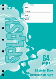 Splash A4 64pg 8mm Ruled Binder Book