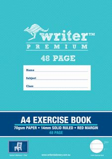 Writer Premium A4 48pg 14mm Solid Ruled Exercise Book