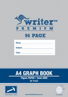 Writer Premium A4 96pg 5mm Graph Exercise Book