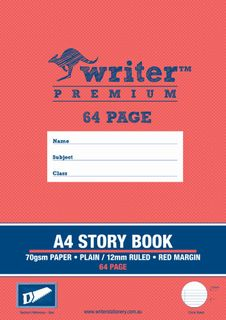 Writer Premium A4 64pg 2/3rds Plain/12mm Ruled Storybook