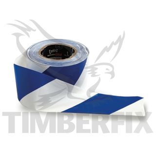 75mm x 100mtr White & Blue Tape