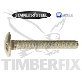 M10 x 80mm Stainless Cup Head Bolt