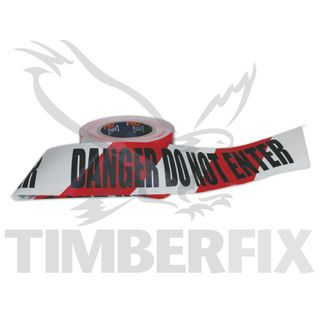 Red & White  - Danger Do Not Enter - Tape 100m roll