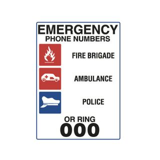 Emergency Phone Numbers...450 x 300mm Poly Sign