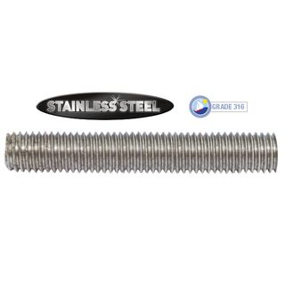 M12 x 1m Stainless 316 Grade Threaded Rod