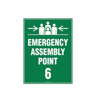 Emergency Assembly Point 6  600mm x 450mm Poly Sign
