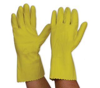 Yellow Silver Lined Gloves / Pair  -  MEDIUM