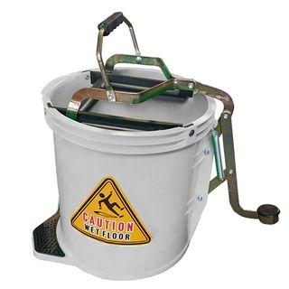 16Ltr Plastic Mop Wringer Bucket - WHITE