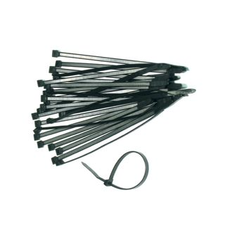 7.6mm x 540mm Heavy Duty Black Cable Ties- Rated to 54kg (25 Pack)