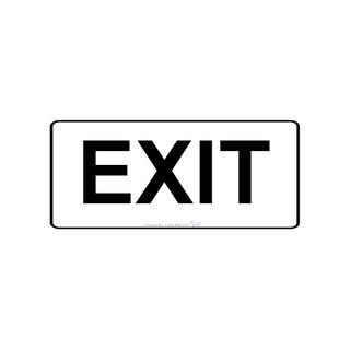 450 x 200mm Poly Sign - Black on White - Exit