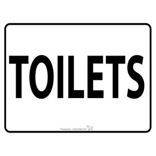 600 x 450mm Poly Sign - Black on White - Toilets