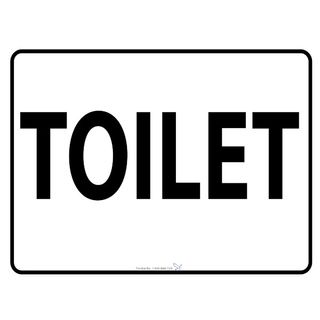 600 x 450mm Poly Sign - Black on White - Toilet