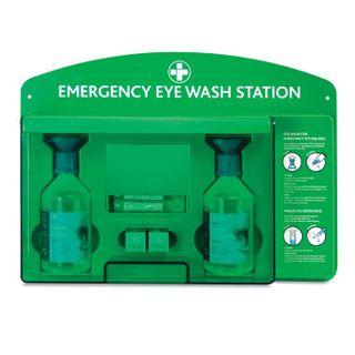 Eyewash Station With Mirror - Includes 2 x 500ml Saline Eyewash Bottles - Plastic Case