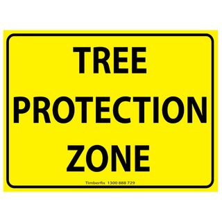 600 x 450mm Black on Yellow TREE PROTECTION ZONE Poly Sign