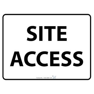600 x 450mm Site Access Poly Black On White Sign