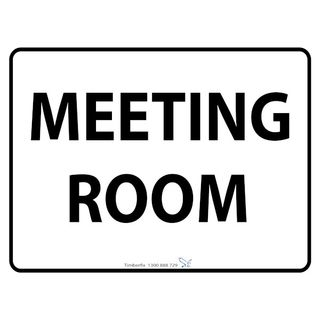 600 x 450mm Meeting Room Poly Black On White Sign