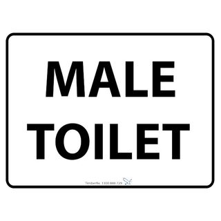 600 x 450mm Male Toilet Poly Black On White Sign