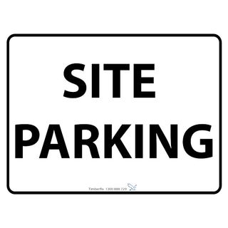 600 x 450mm Site Parking  Poly Black On White Sign