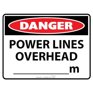 600 x 450mm Power Lines Overhead ____m Poly Danger Sign