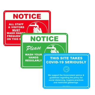 3 Pack of COVID-19 Signs 300 x 225mm - Red, Blue and Green