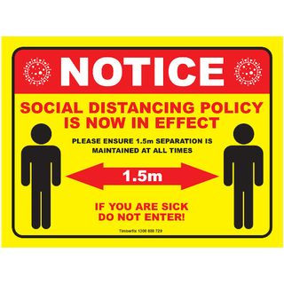 300 x 225mm Poly - Yellow Social Distancing Sign